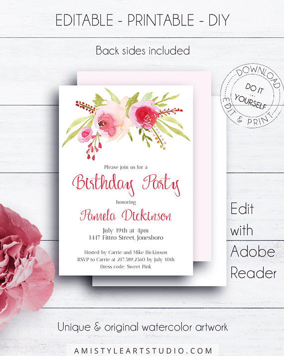 Floral editable birthday invitation with charming and elegant hand floral editable birthday invitation with charming and elegant hand painted watercolor floral design in romantic and glam styleis dazzling wat solutioingenieria Choice Image