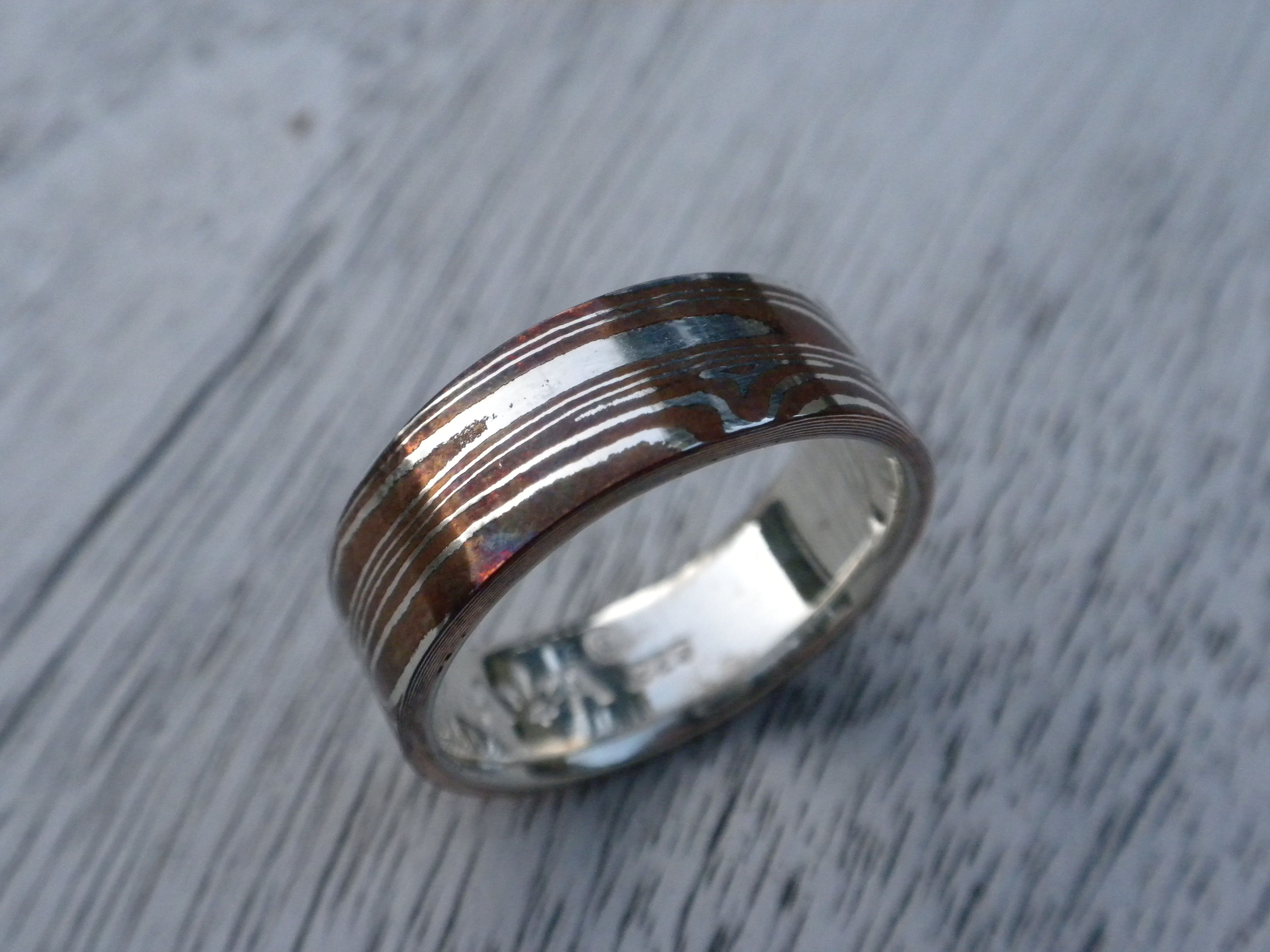 21 layers or Sterling silver & Copper long wood grain Mokume