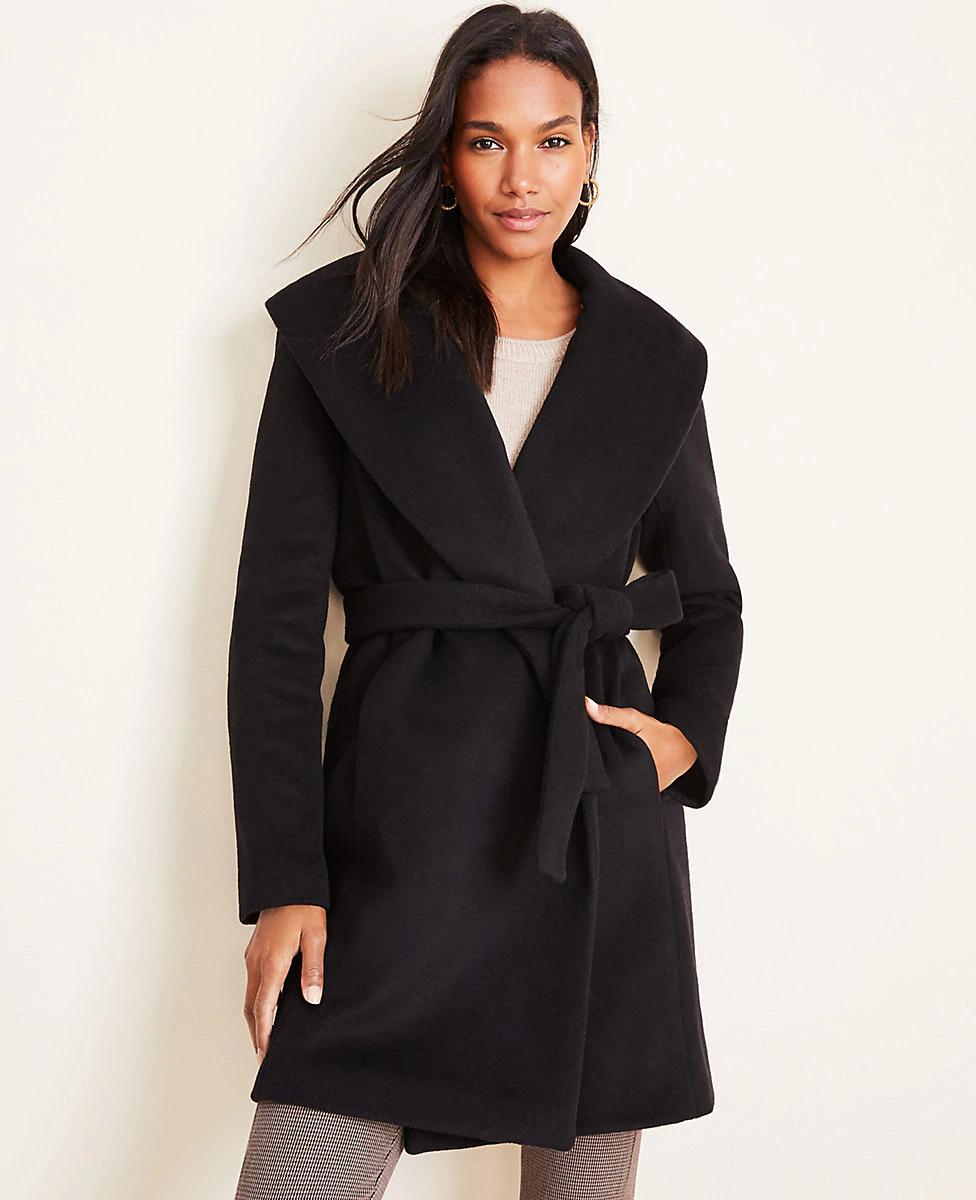 Petite Shawl Collar Wrap Coat Ann Taylor Clothes Petite Winter Coats Wrap Coat [ 1200 x 976 Pixel ]