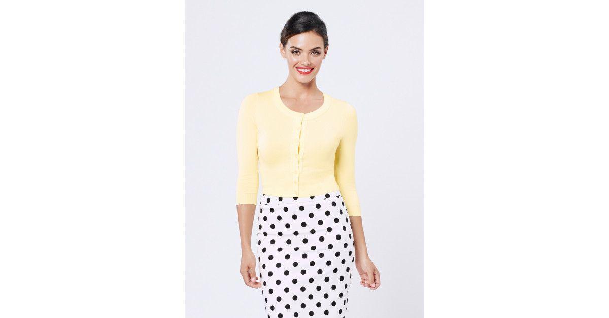 e29b6b56a69 Review Australia - Chessie 3 4 Sleeve Cardi Lemon