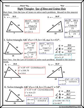 Right Triangles Unit - The Laws of Cosines & Sines Quiz ...