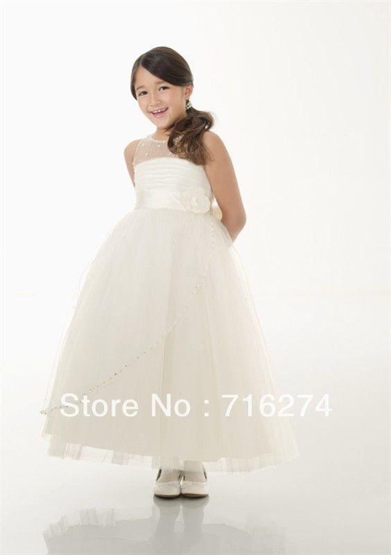 2013 New style Ivory Tullle Cute Handmade First Communion Dress Flower Girl Dresses Lovely Children Dress $98.00