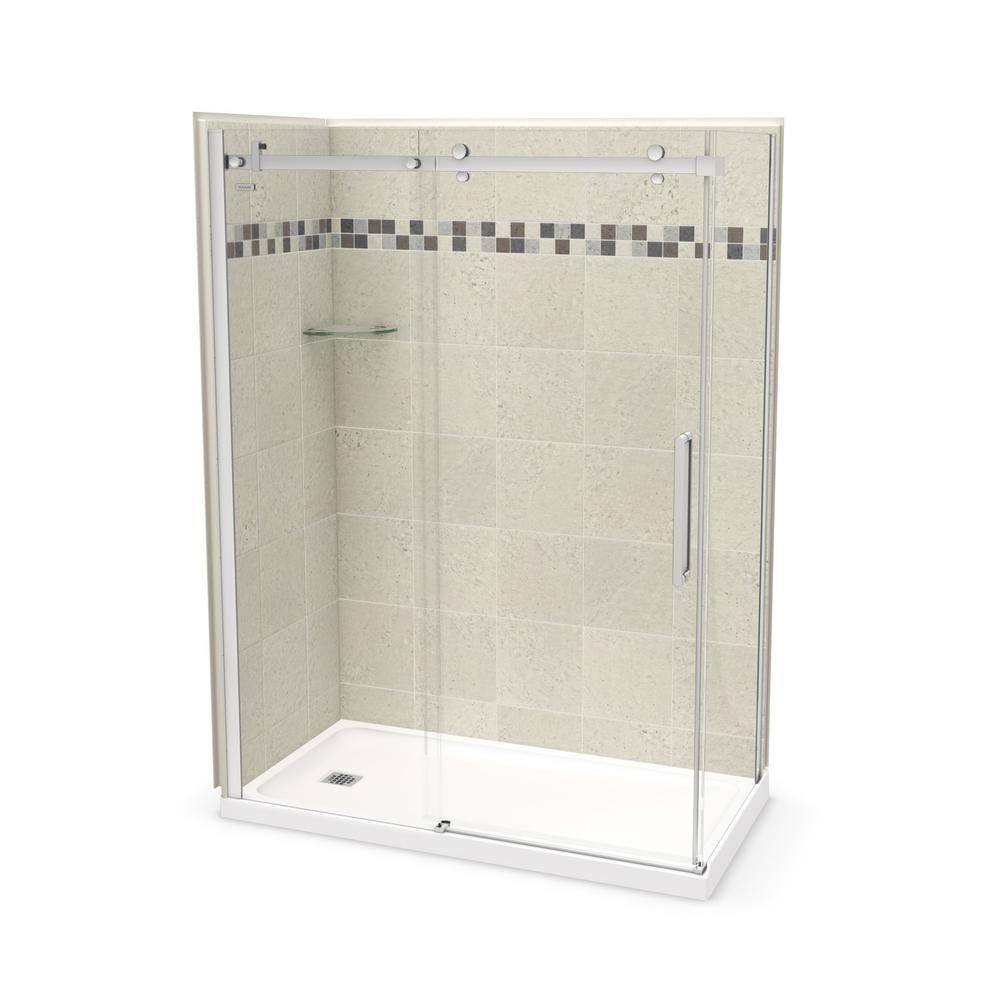 Maax Utile Stone 30 In X 60 In X 83 5 In Left Drain Corner Shower Kit In Sahara With Chrome Shower Door 106321 000 001 101 Corner Shower Kits Shower Kits Shower Doors