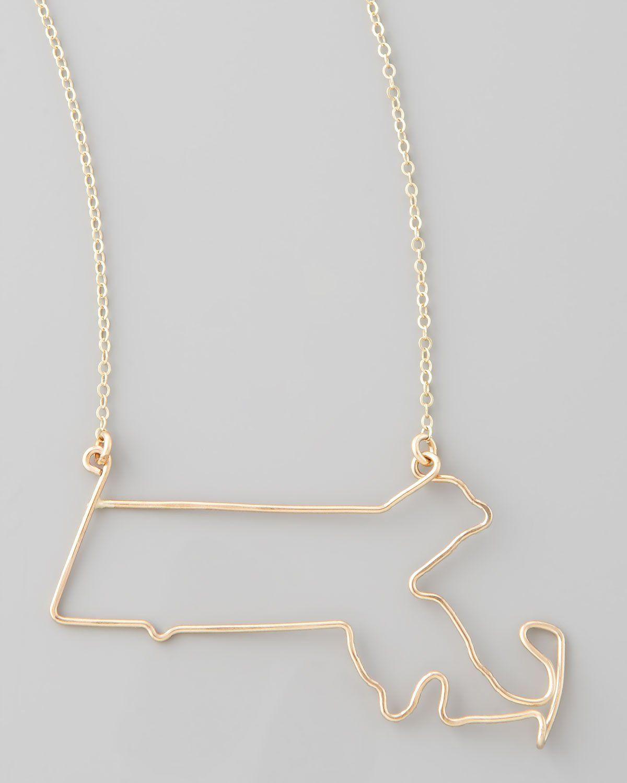 Gold massachusetts state pendant necklace pendants and products gold massachusetts state pendant necklace aloadofball Images