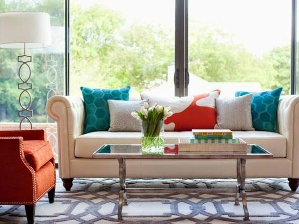 living room turquoise orange grey copper brass - Google Search ...