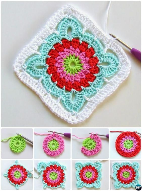 Häkeln Patroon Blume Granny Platz Freies Muster Crochet