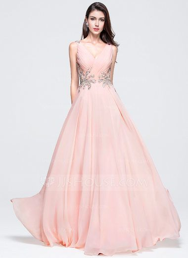 $142. Grape. A-Line/Princess V-neck Floor-Length Chiffon Prom Dress ...