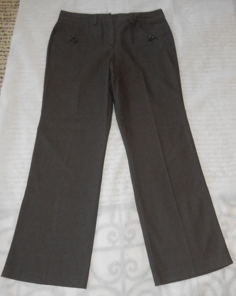 "Larry Levine Pants Slacks Stretch Career Sz 14 Brown Pinstripe Inseam 30.5"" Wome #LarryLevine #DressPants"
