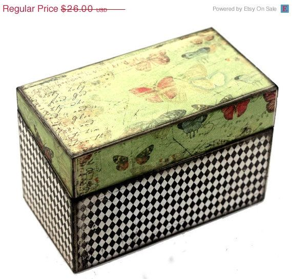 ANNIVERSARY SALE 15 Off Recipe Box Butterfly On Green by KotiBeth, $22.10