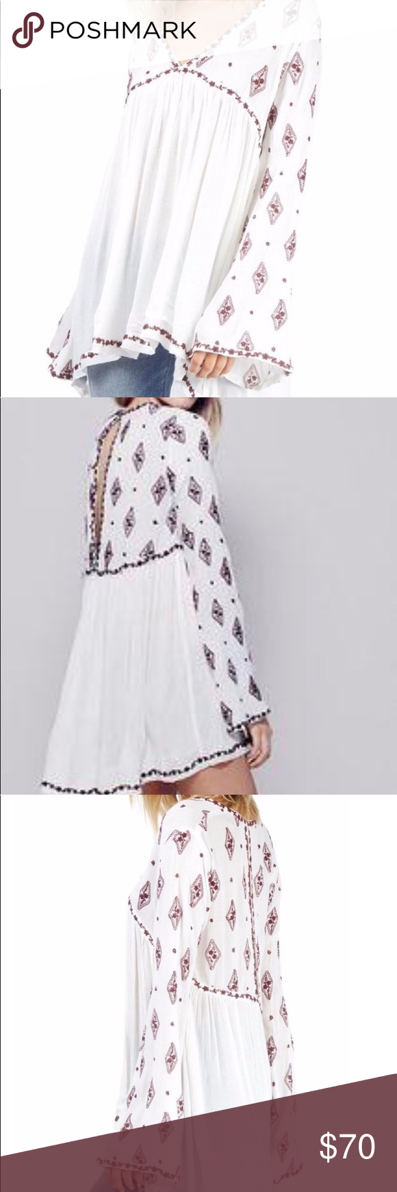 3706d10dd75f Free People Diamond Embroidered Top Free People Diamond Embroidered top.  V-neck longsleeve