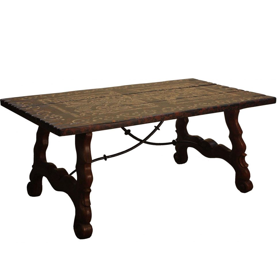 Spanish Villa Iron Stretcher Table Dining Table Mission Style Furniture Mahogany Wood Stain