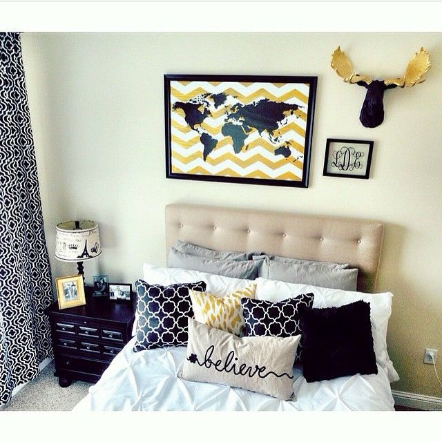 Black Gold Bedroom Decor Faux Moose Head Wall Decor Above Bed By Near