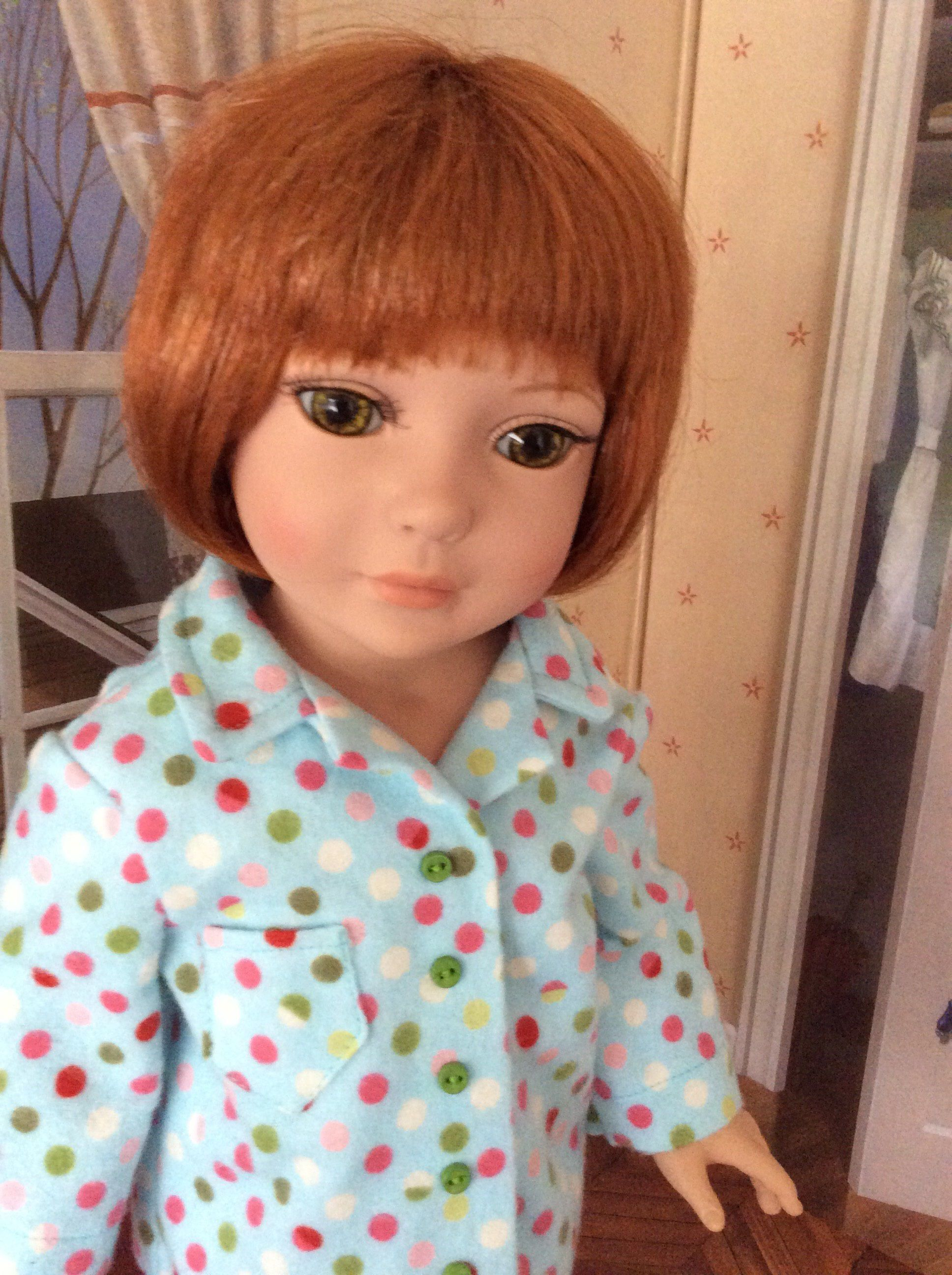 American Made Girl Doll Clothing-Sweet Dreams Flannel Pajamas for 18 Inch Dolls Will Fit Robert Tonner's My Imagination™ OOAK #18inchdollsandclothes