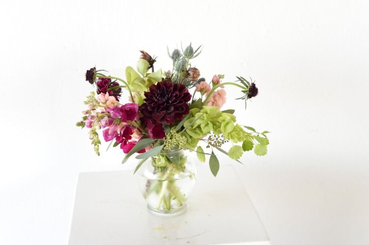 Small Garden Vase For Cocktail Tables Dahlia Snapdragons Bells Of Ireland And Scabiosa With Thistle House Photograp Elope Wedding Cat Flowers Wedding Shop