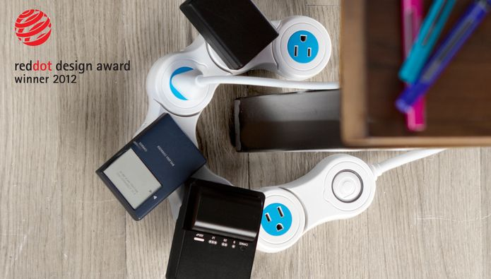 Pivot Power - Reclaim your outlets with Pivot Power, an adjustable power strip that holds large adapters in EVERY outlet! 29.99 by Quirky winner of the red dot design award.