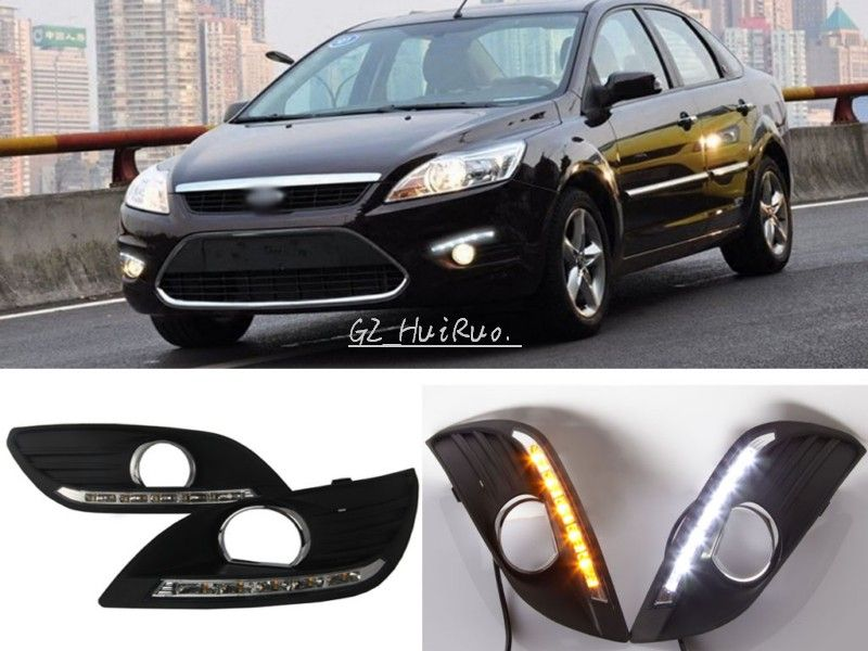 Free Shipping 2 Pcs Set Waterproof Led Daytime Running Light Drl Turn Signal For Ford Focus Sedan Fog Lamp Modify 2 Ford Focus Sedan Ford Focus Waterproof Led
