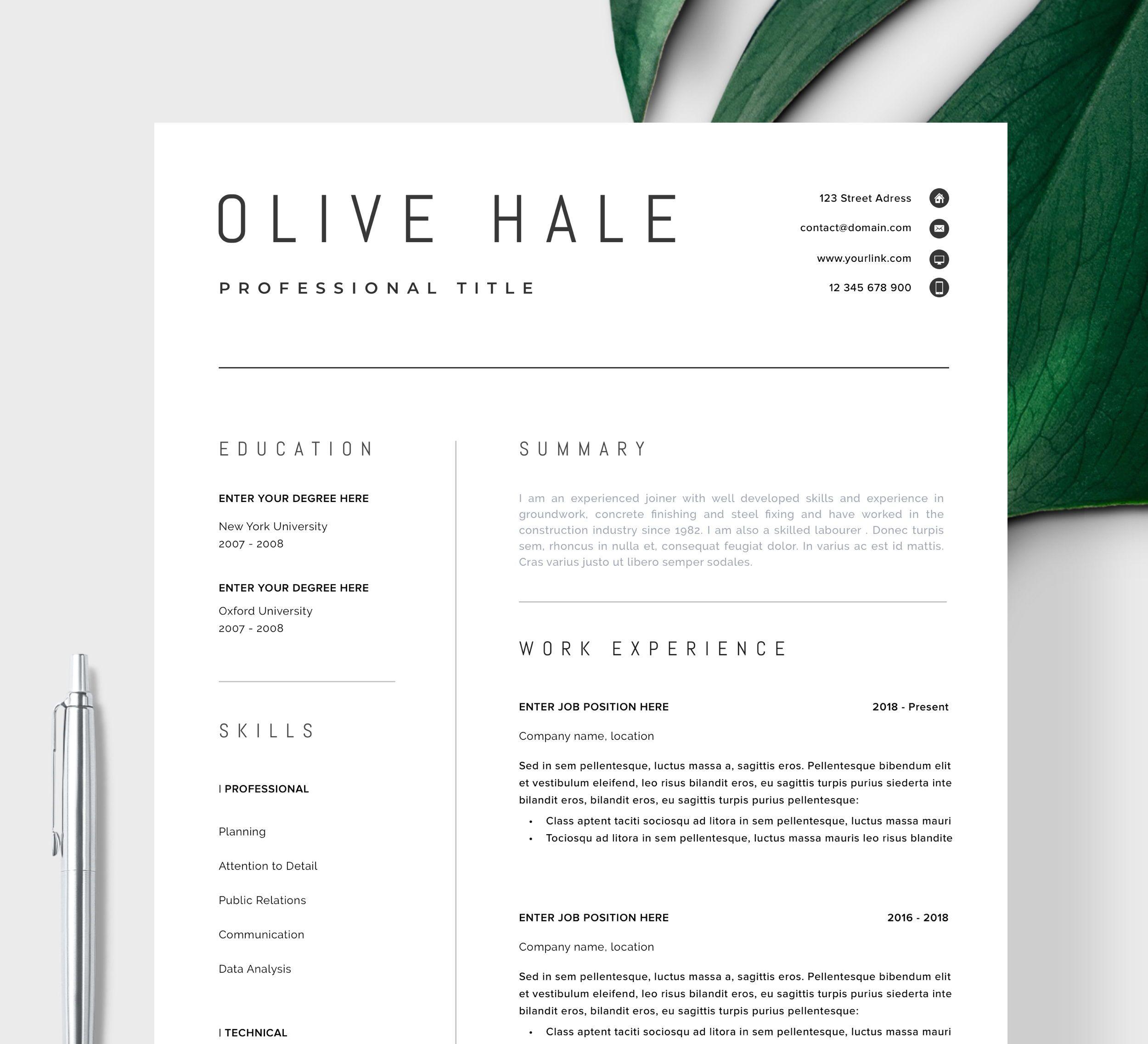 professional resume template  clean  u0026 modern resume
