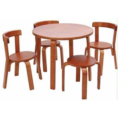 Kids Table And Chair Set Svan Play With Me Toddler Table Set With 3 Chairs  And Stool 100 Wood Cherry    Find Out More About The Great Product At U2026