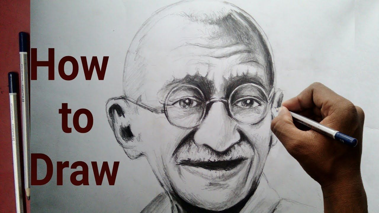 How to draw mahatma gandhi step by step tutorial for beginners