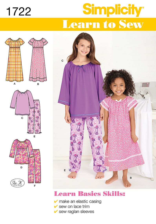Simplicity 1722 Children's Sleepwear | More Simplicity patterns ideas