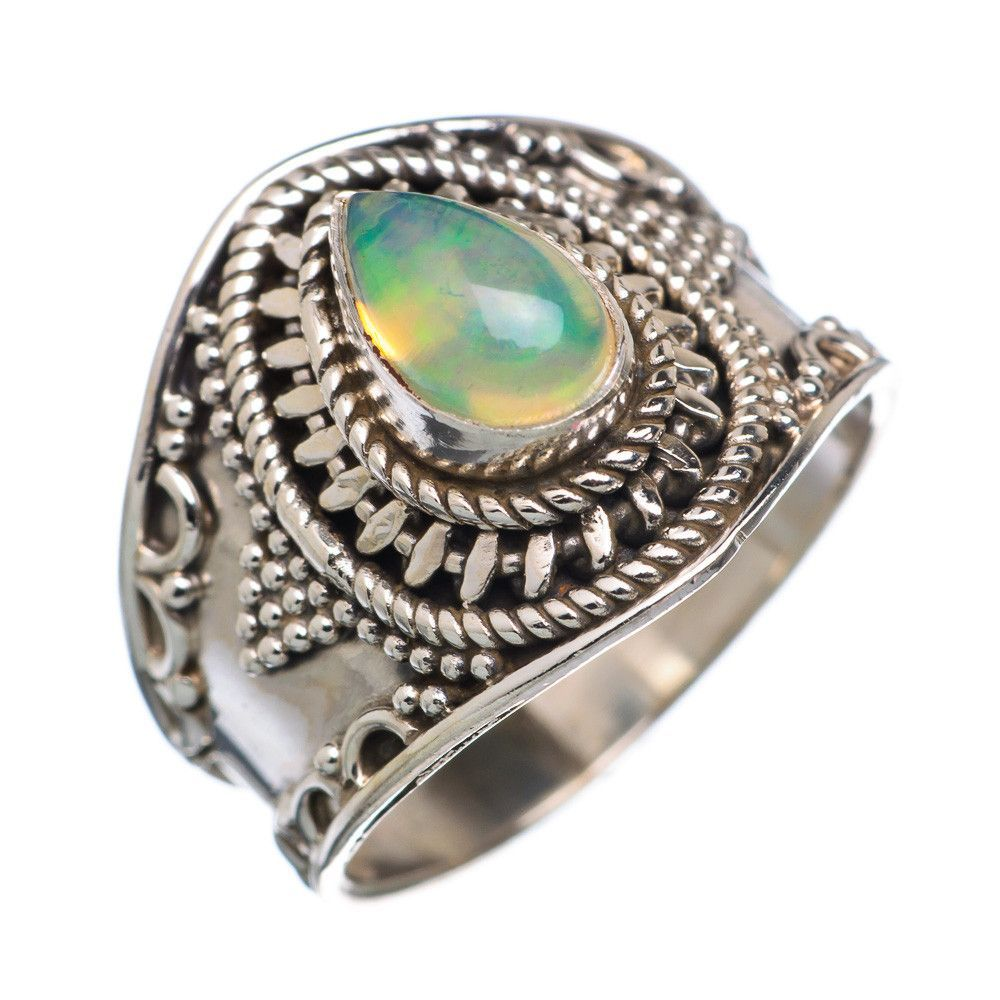Natural ethiopian opal sterling silver ring size ring