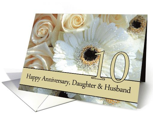10th Anniversary Card For Daughter Husband Pale Pink Roses Card 1st Anniversary Cards 50th Anniversary Cards 20th Anniversary Cards