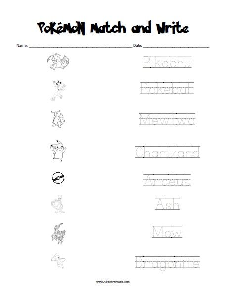 Pokemon Matching Worksheet | All Free Printable | Pinterest ...