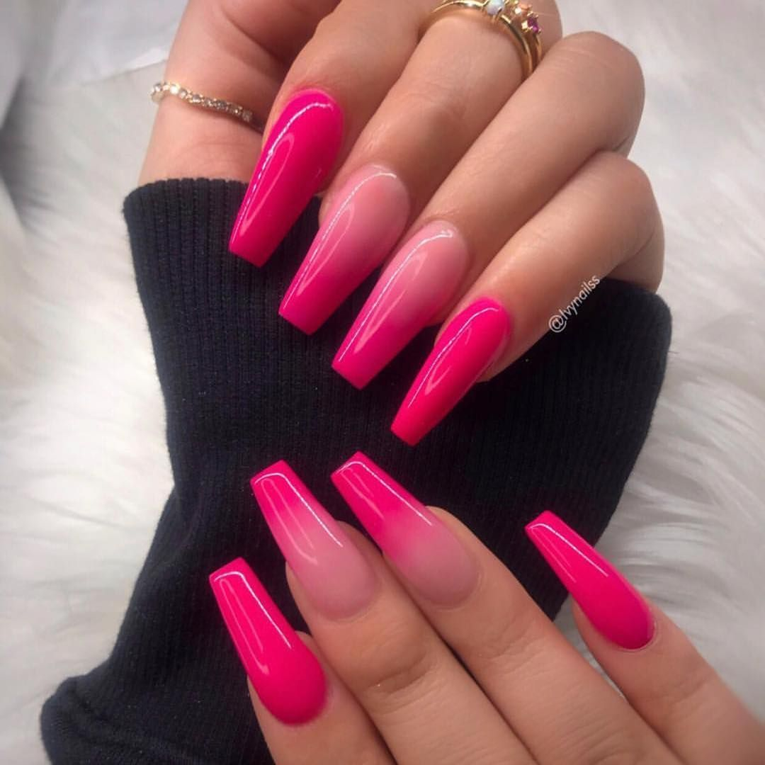 Pink With Images Ombre Acrylic Nails Pink Nails Cute