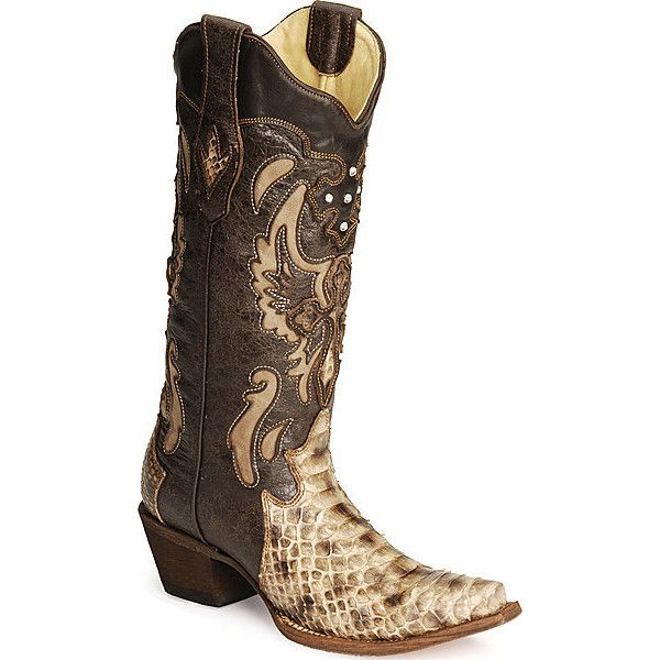 Women's Snip Toe Black Genuine Leather Saddle Python Skin Western Boots