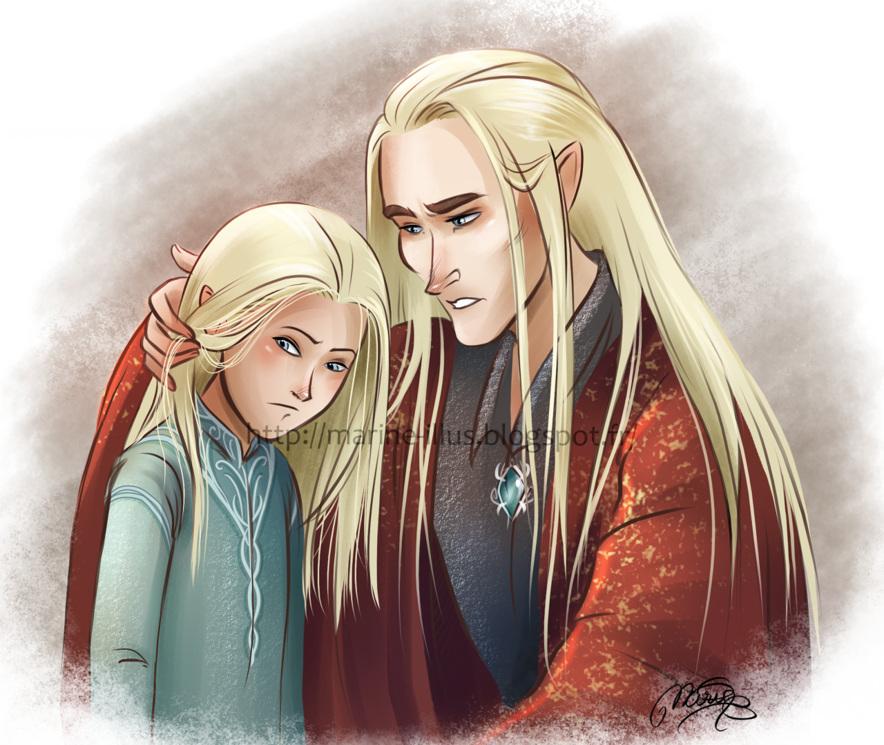 Young Legolas and Thranduil from