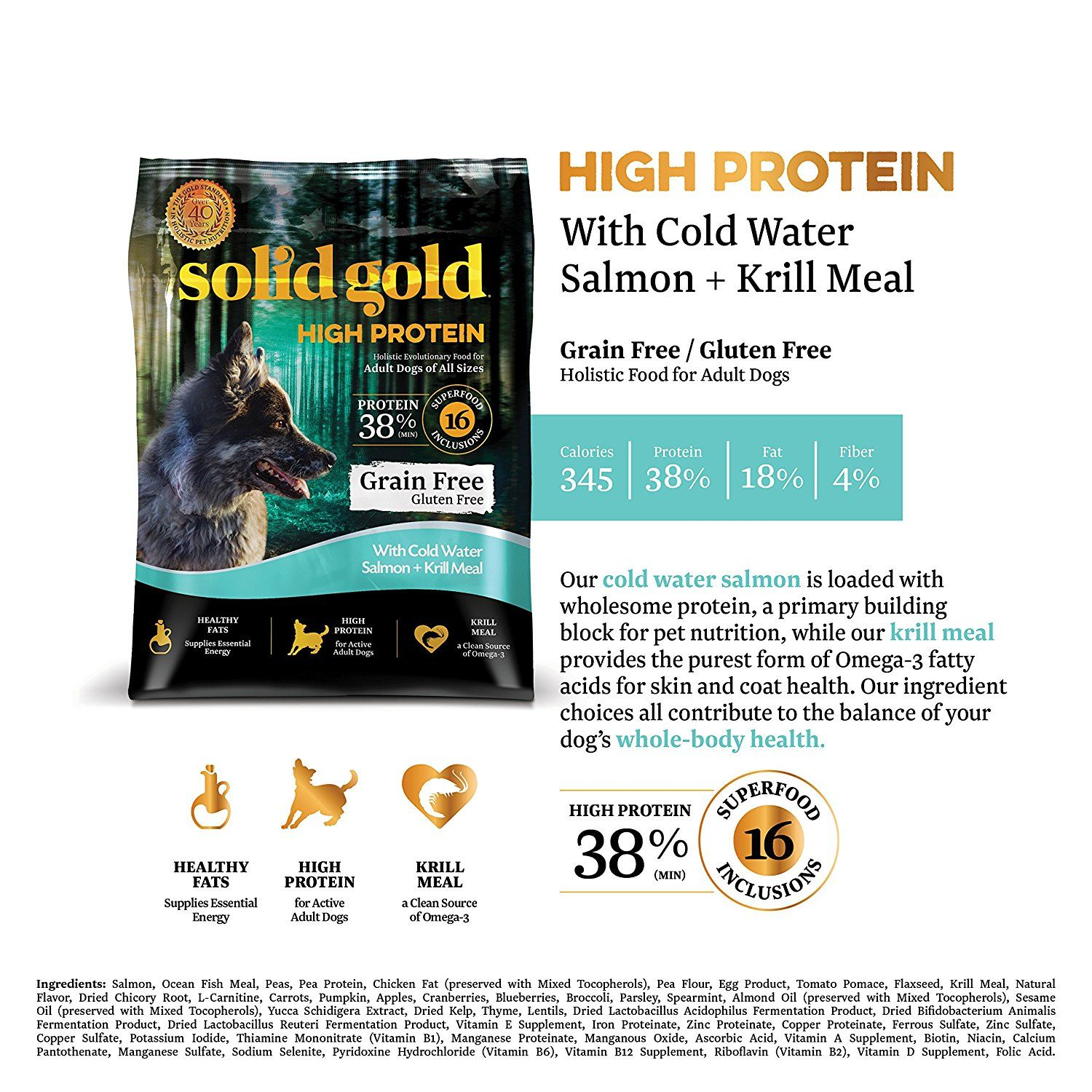 Amazon Com Solid Gold High Protein Grain And Gluten Free Dry Dog