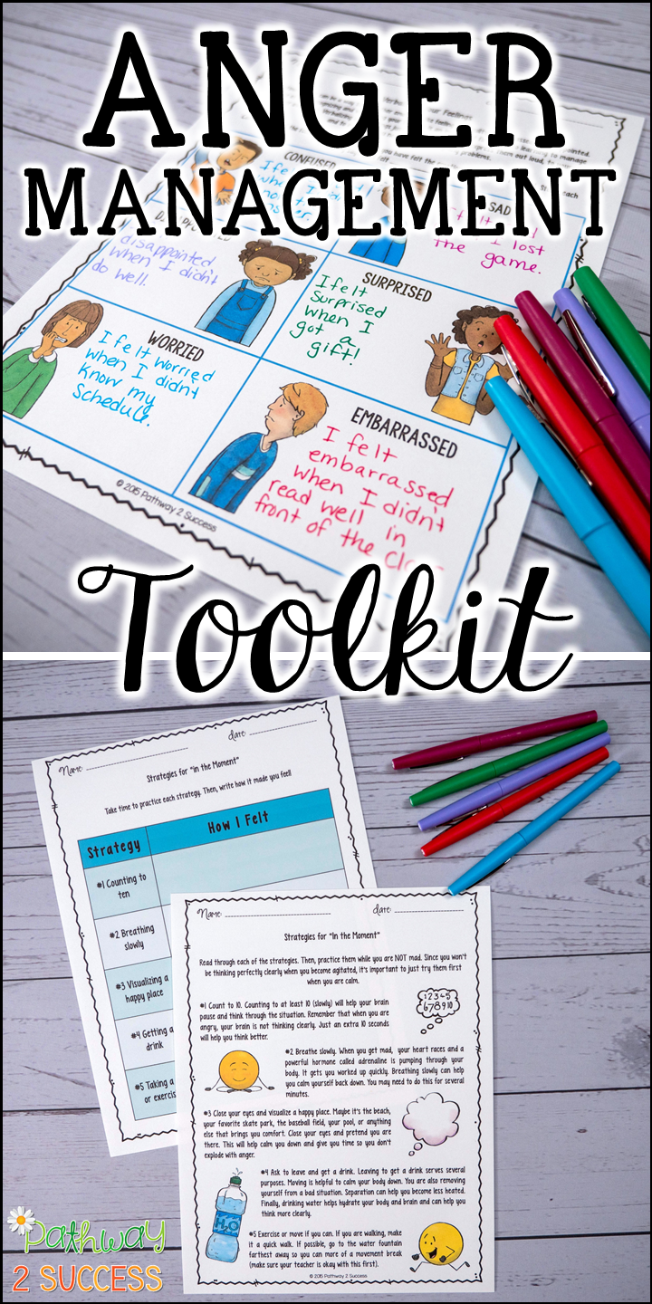 Use this anger management toolkit to help kids understand anger, verbalize  feelings, notice effects