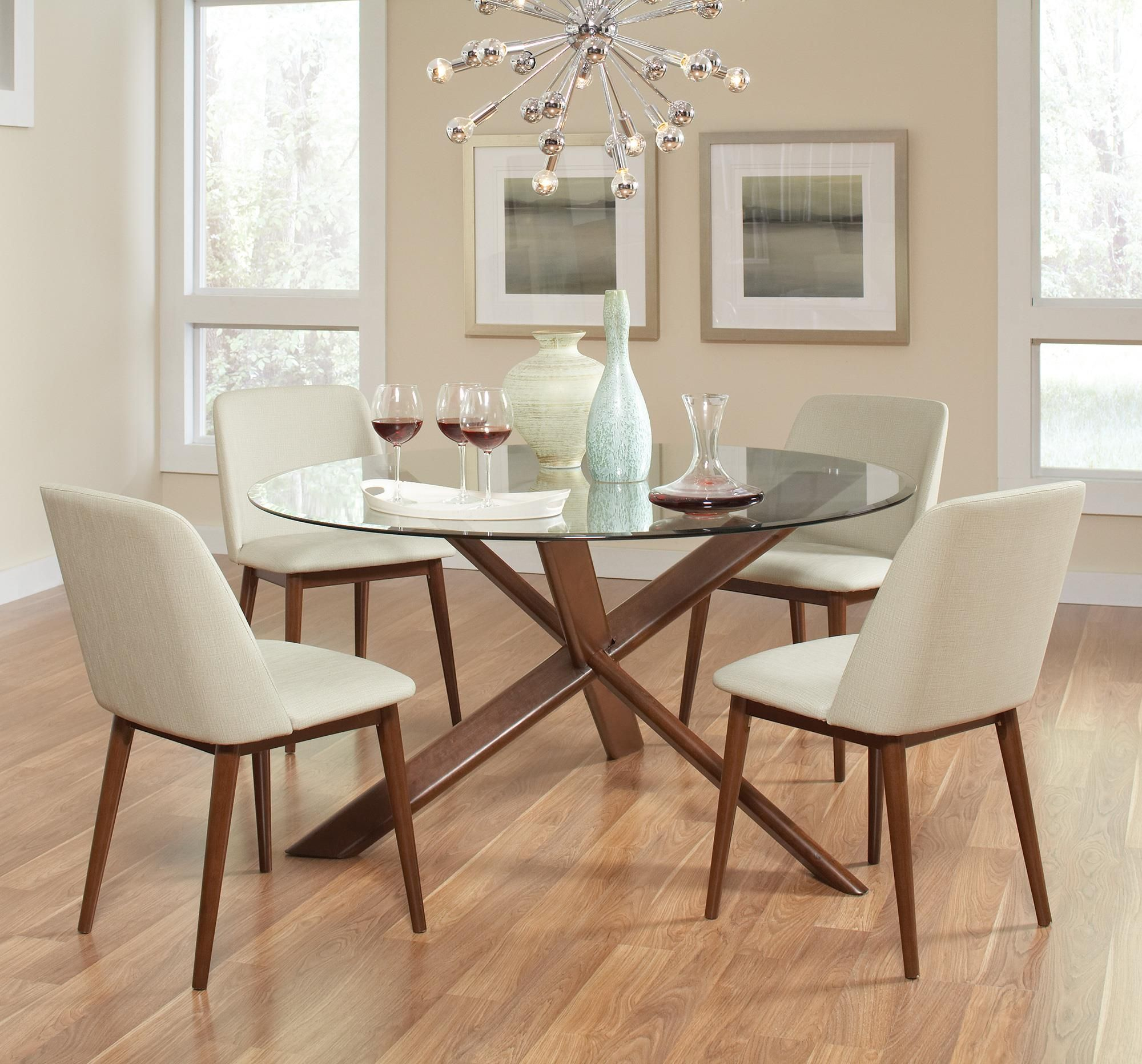 Barett Round Table with Glass Top with 4 Chairs Set by Coaster