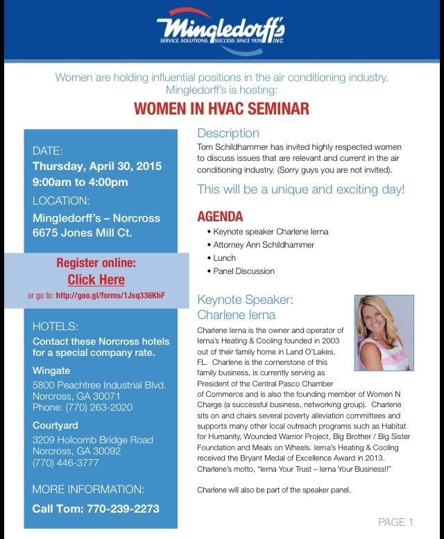 Women In Hvac Seminar With Images Hvac Seminar Positivity