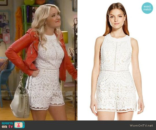 439417ed1675 Gabi s white lace romper and red leather jacket on Young and Hungry. Outfit  Details