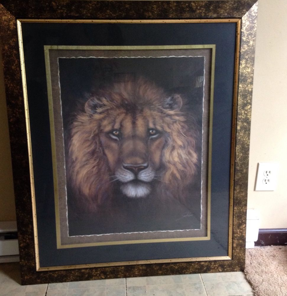 Details about large lion picture print by sam bafaro home - Interiors by design picture frames ...