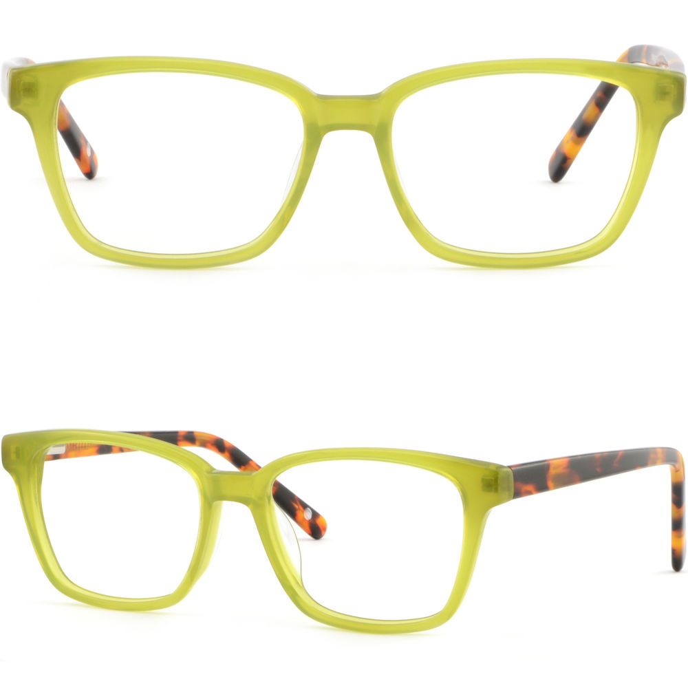 f6d3409590 Square Women Plastic Acetate Frame Spring Hinge Prescription Glasses Olive  Green