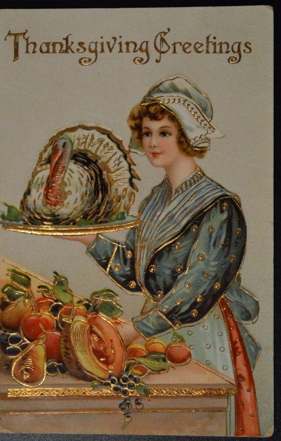 Thanksgiving Postcard  Young Maiden Turkey by EndlessEphemera