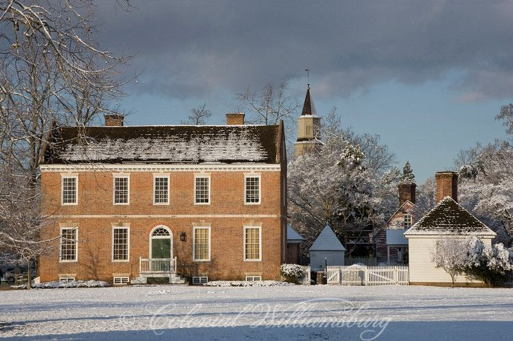 Snowy winter morning, Roscoe-Cole House on Market Square, Colonial Williamsburg. Photo by David M. Doody