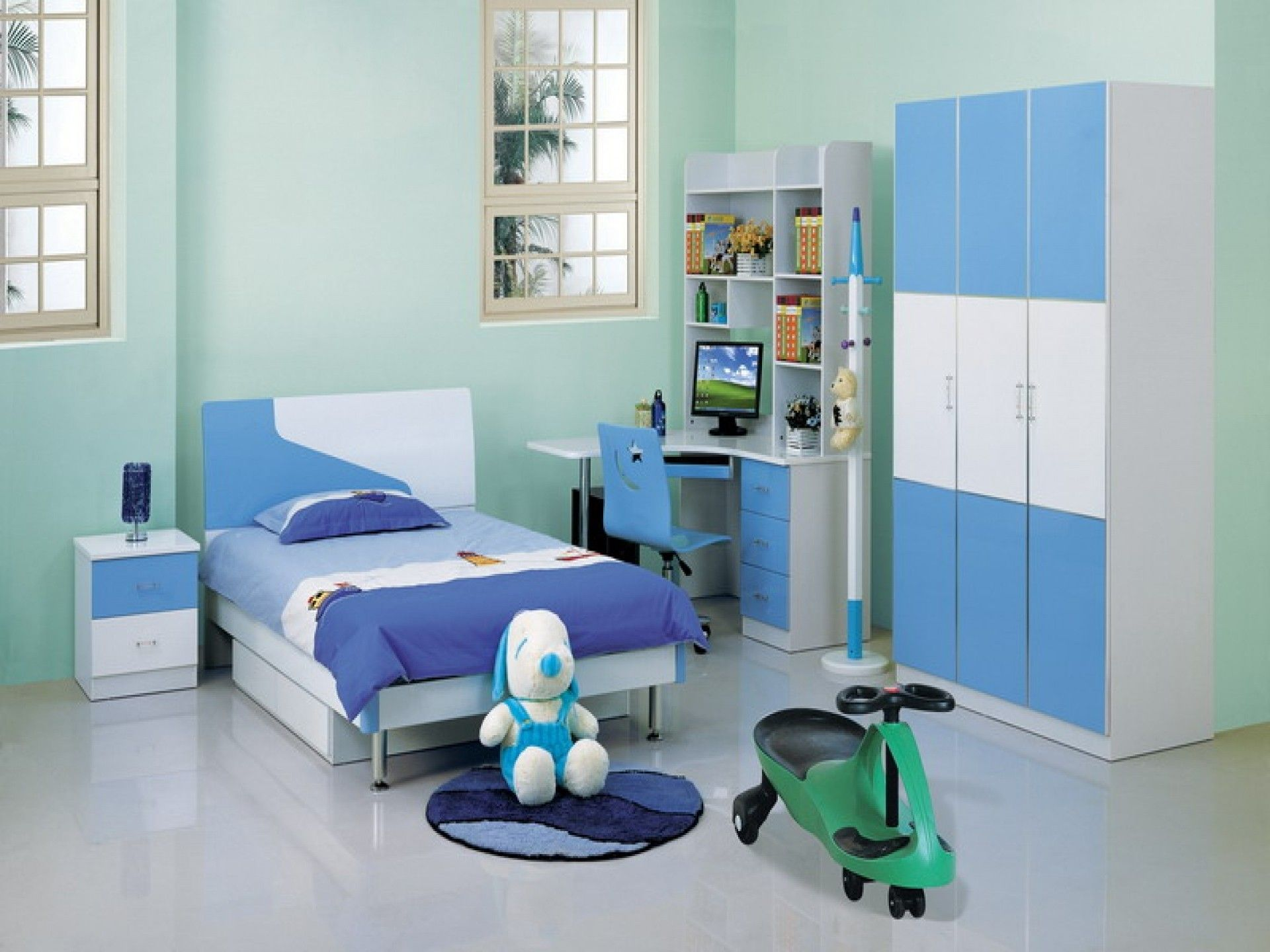 Beautiful Winsome Children Room Furniture Design Ideas In White And Blue Arranging Kids  Bedroom Along Single Blue Good Looking