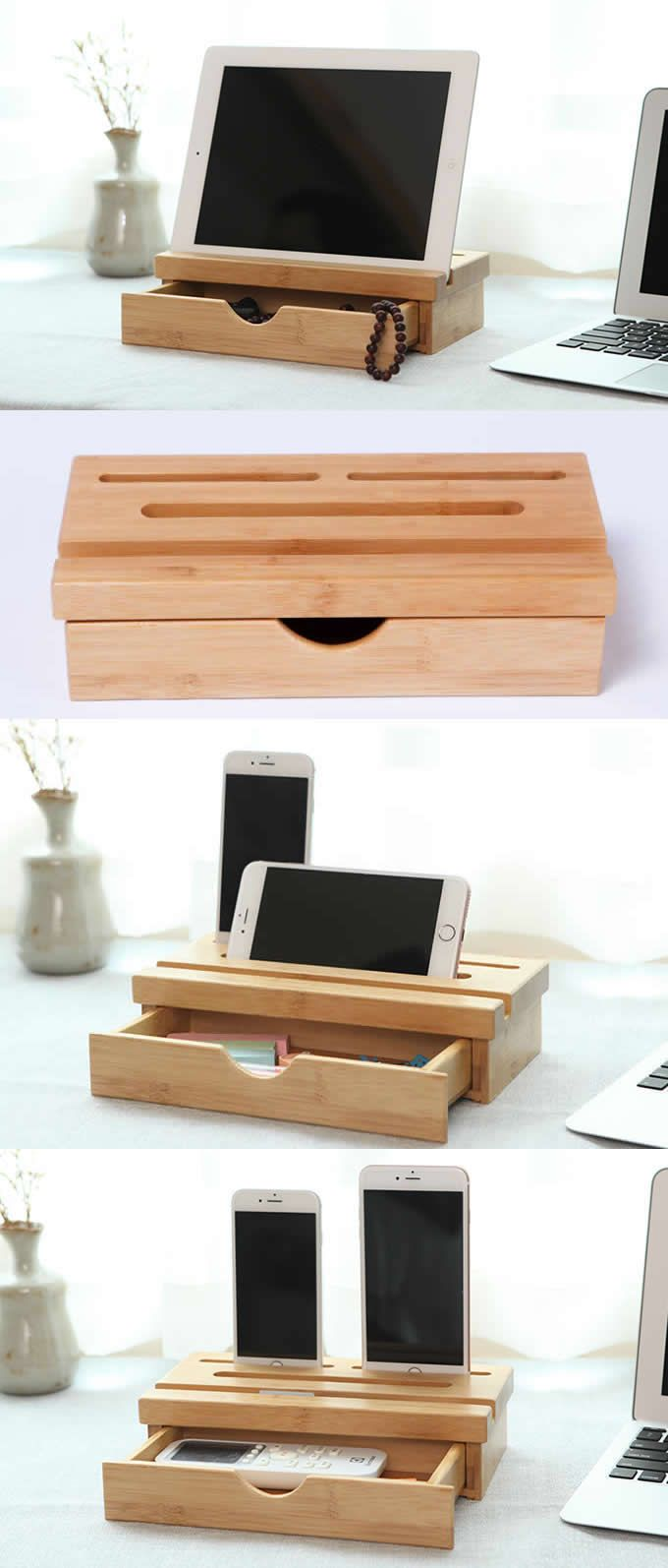 Wooden Bamboo Stationery Drawer Organizer iPad Phone Stand Holder
