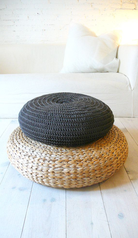 Floor Cushion Crochet very dark gray by lacasadecoto on Etsy, €52.00