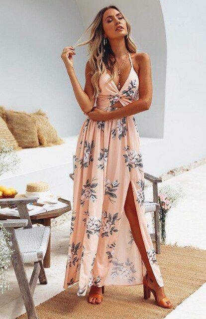 Boho Womens Floral Halter Backless Slit Holiday Ladies Summer Beach Long Dress