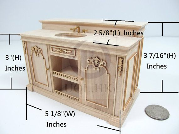 unfinished dollhouse furniture. Miniature Scale French Provincial Sink Kitchen Island For Doll House [Unpainted/Unfinished] Unfinished Dollhouse Furniture