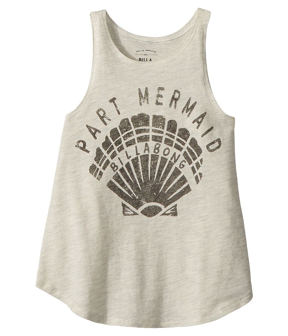87c89008294590 Billabong Kids Part Mermaid Shell Tank Top (Little Kids Big Kids) Girl s  Sleeveless Ice Athletic Grey