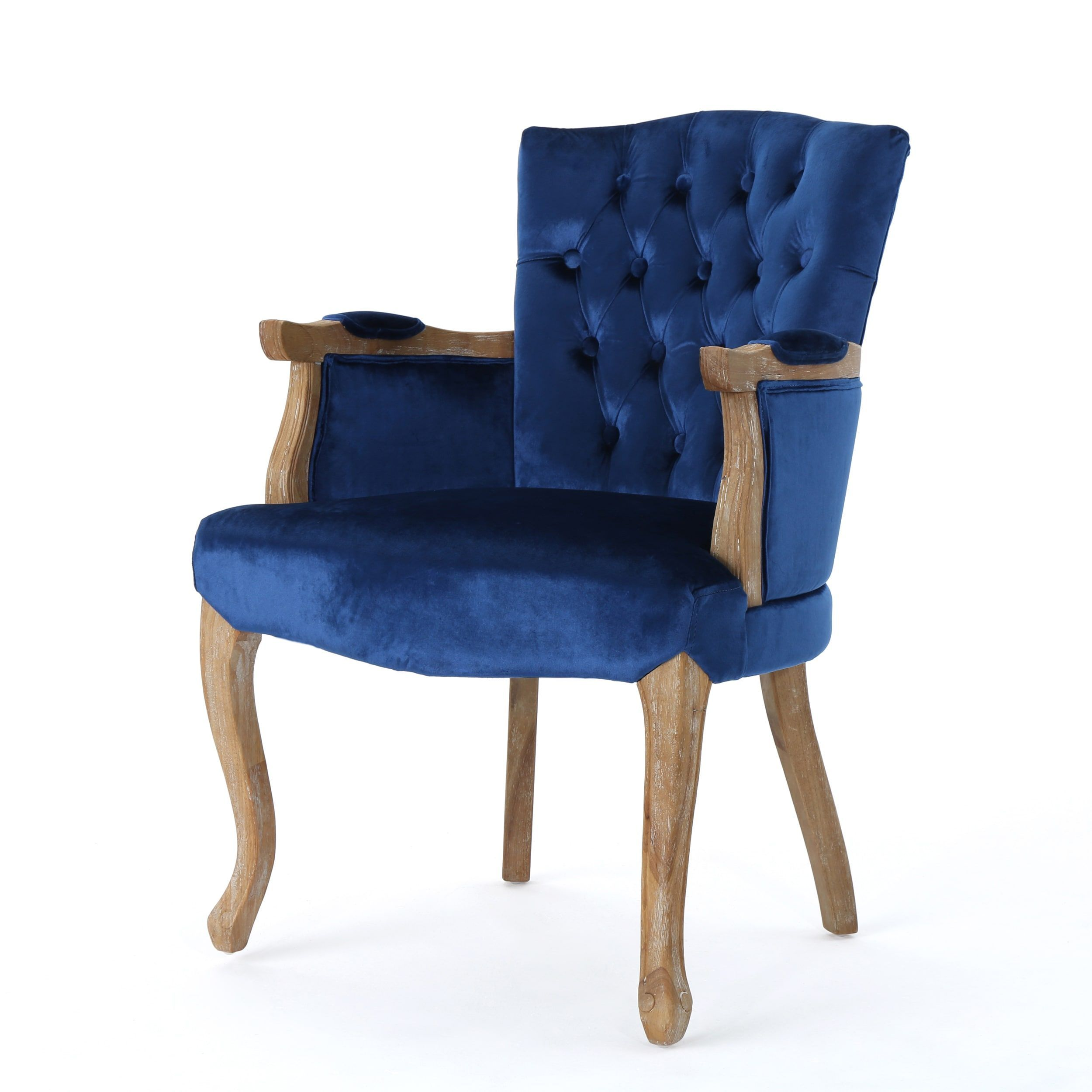 Rumi Traditional Velvet Armed Dining Chair by Christopher Knight