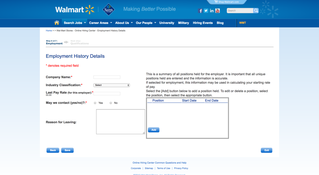 Walmart Application Employment History Details Unique Company Names Job Career Employment Application