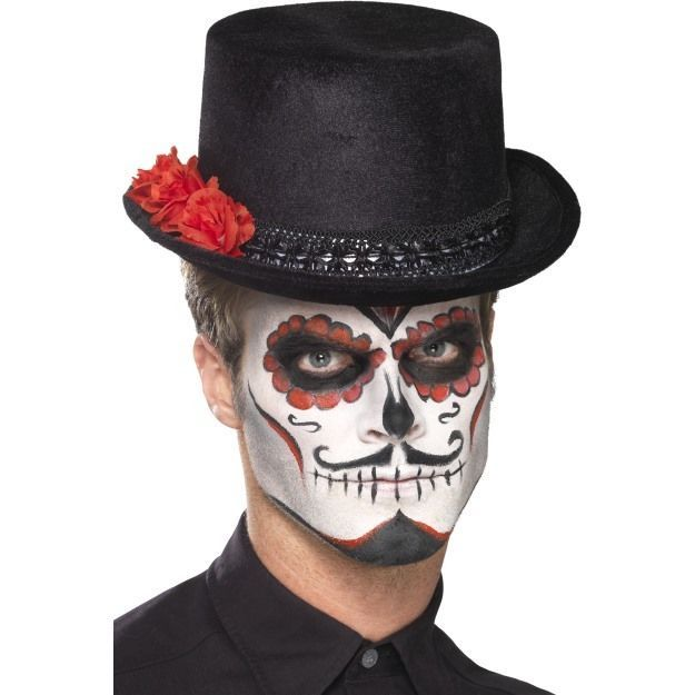 unisex s s day of the dead top hat with roses