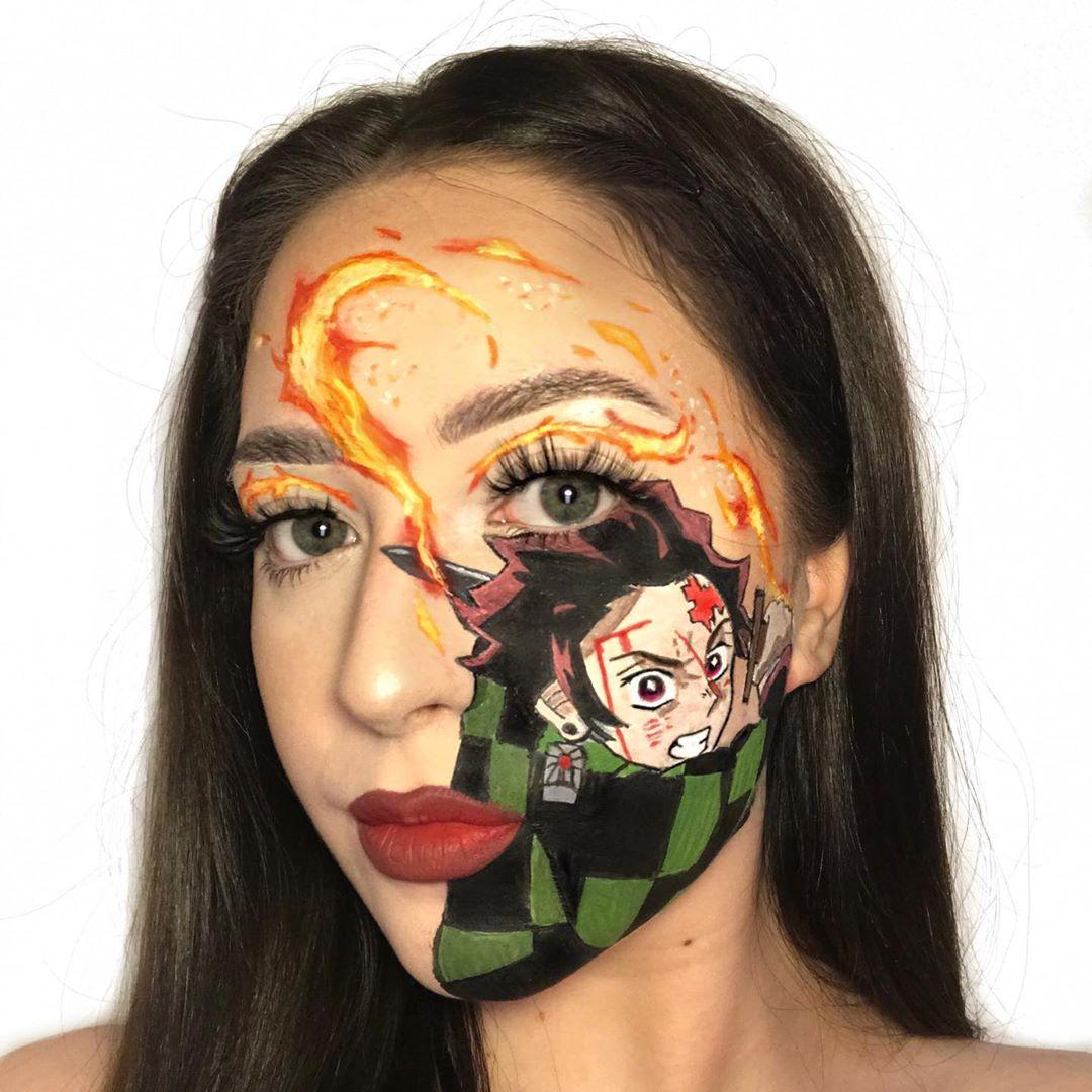 tanjiro 🌊🗡 Creative makeup, Twiggy makeup, Makeup face
