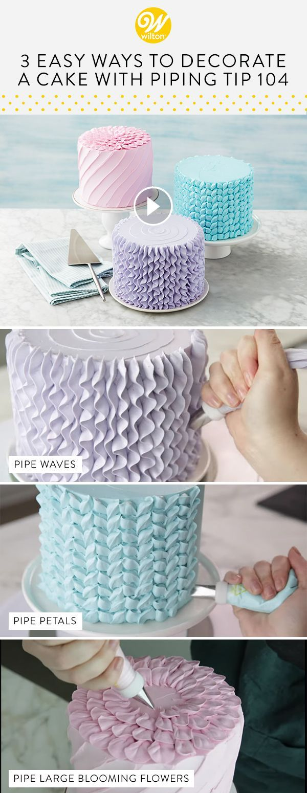 Learn three different ways to decorate a cake using piping tip 104! Great for pi... #decoratersicing